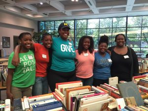 On clean-up day these volunteers from Girls Group made us their monthly community service project, providing desperately needed muscle and genuine cheer to the weary AAUW book sale workers.