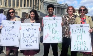 AAUW staff and interns rally on Capitol Hill in Washington, D.C. on Equal Pay Day 2017